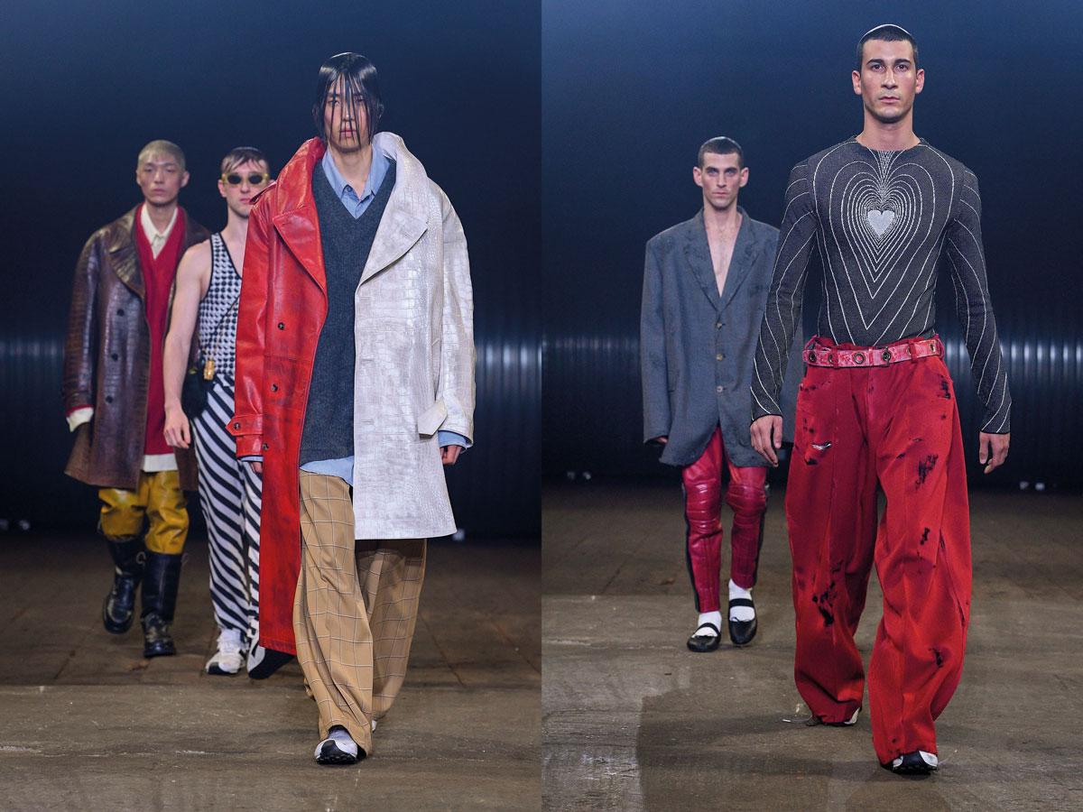 Milan men fw 2020 fashion week Marni red white coat heart grey top red pants
