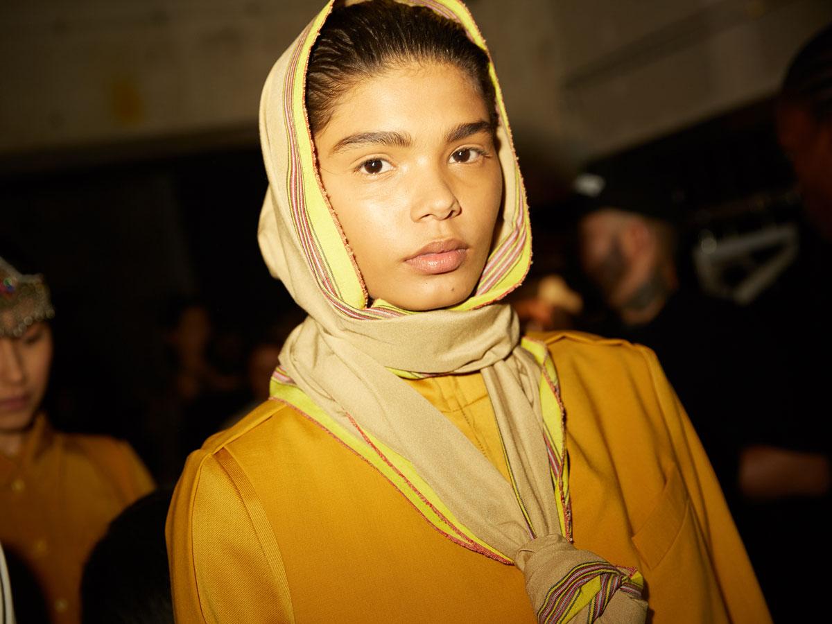 nobi talai nobieh talei yellow head scarf yellow top model portrait