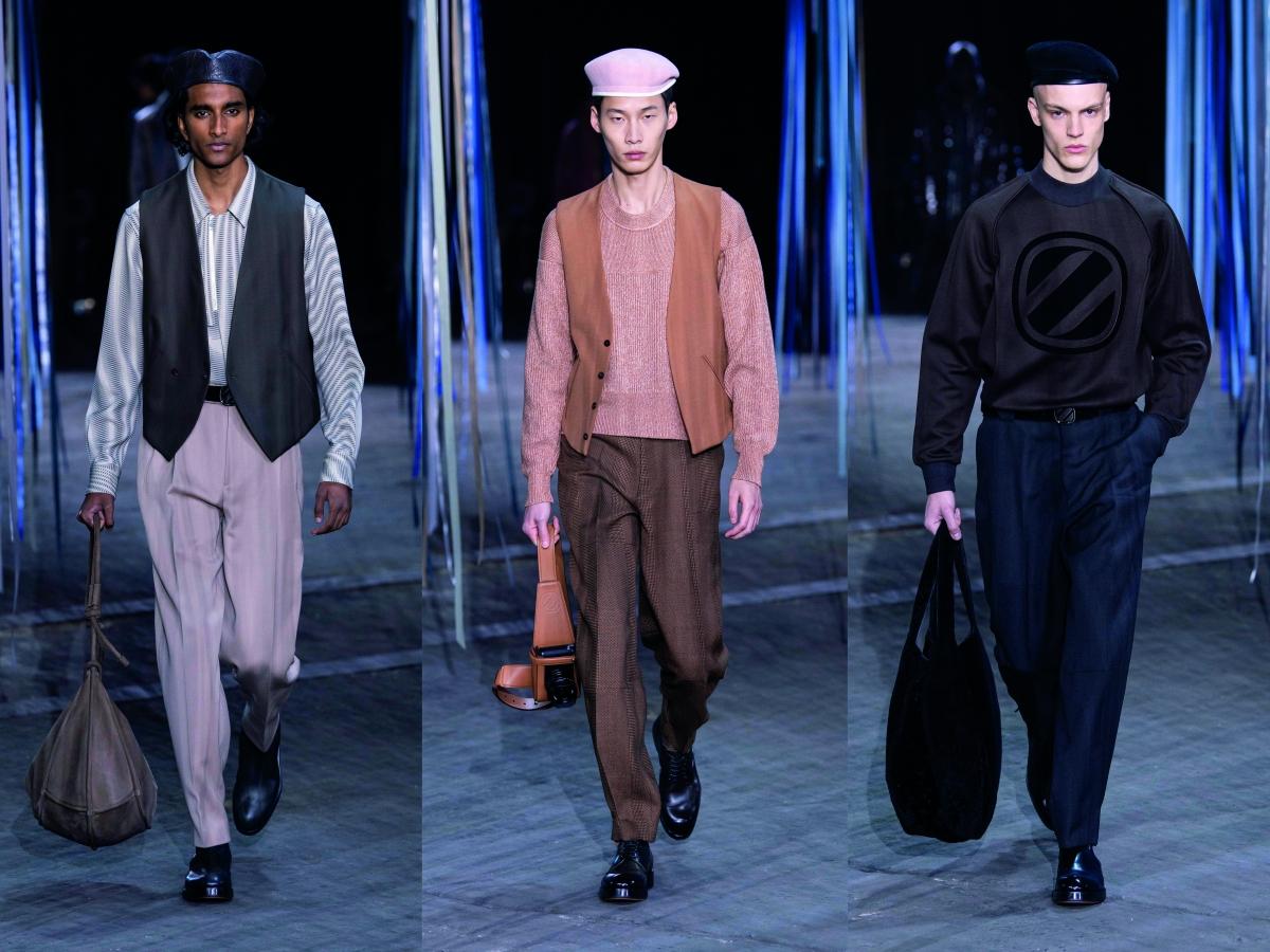 Ermenegildo Zegna XXX Milan fw fashion week men vest purple peach blue sweater beret