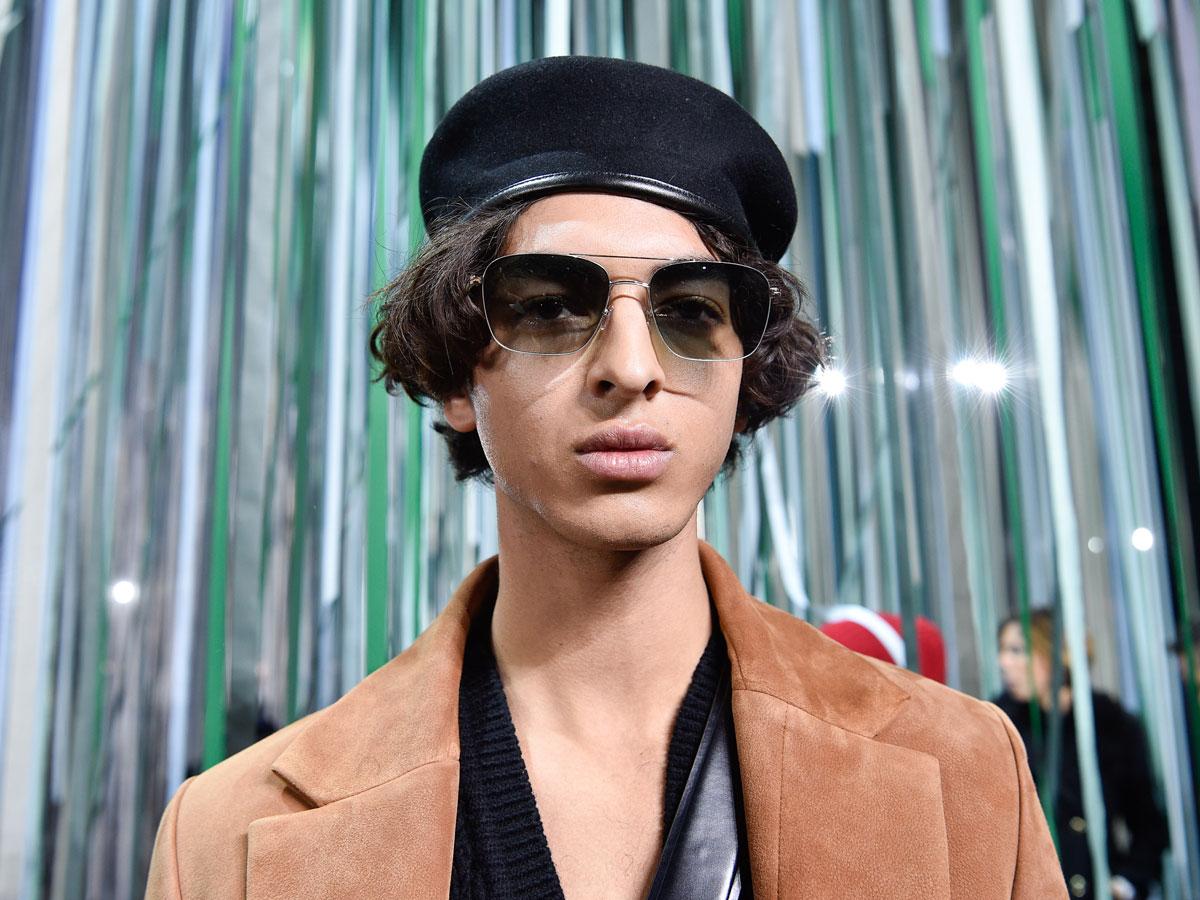 Ermenegildo Zegna XXX Milan fw fashion week men black beret beige coat Sunglasses