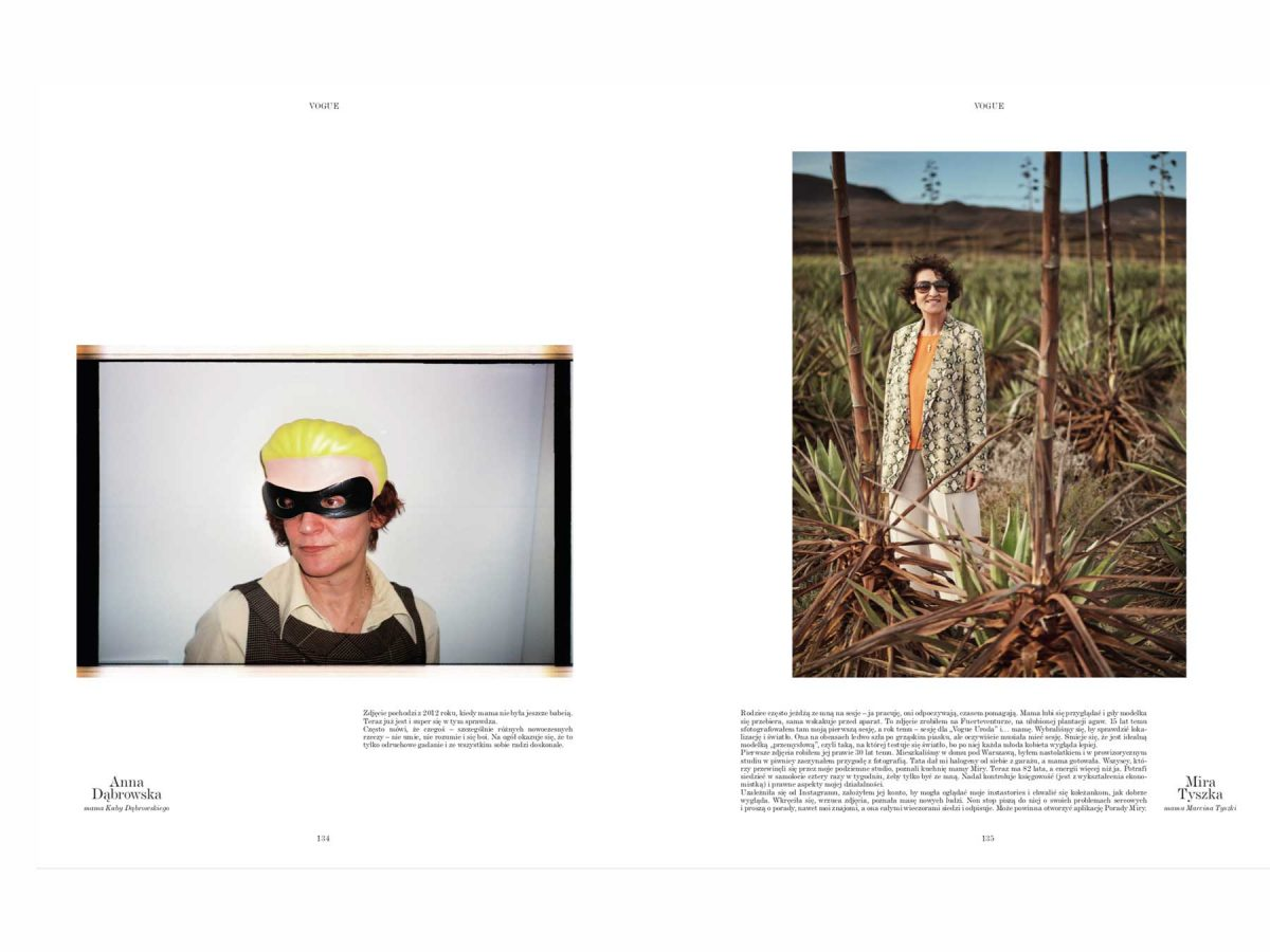 Vogue Poland Article Yellow Helmet White Background Model in Nature Beige