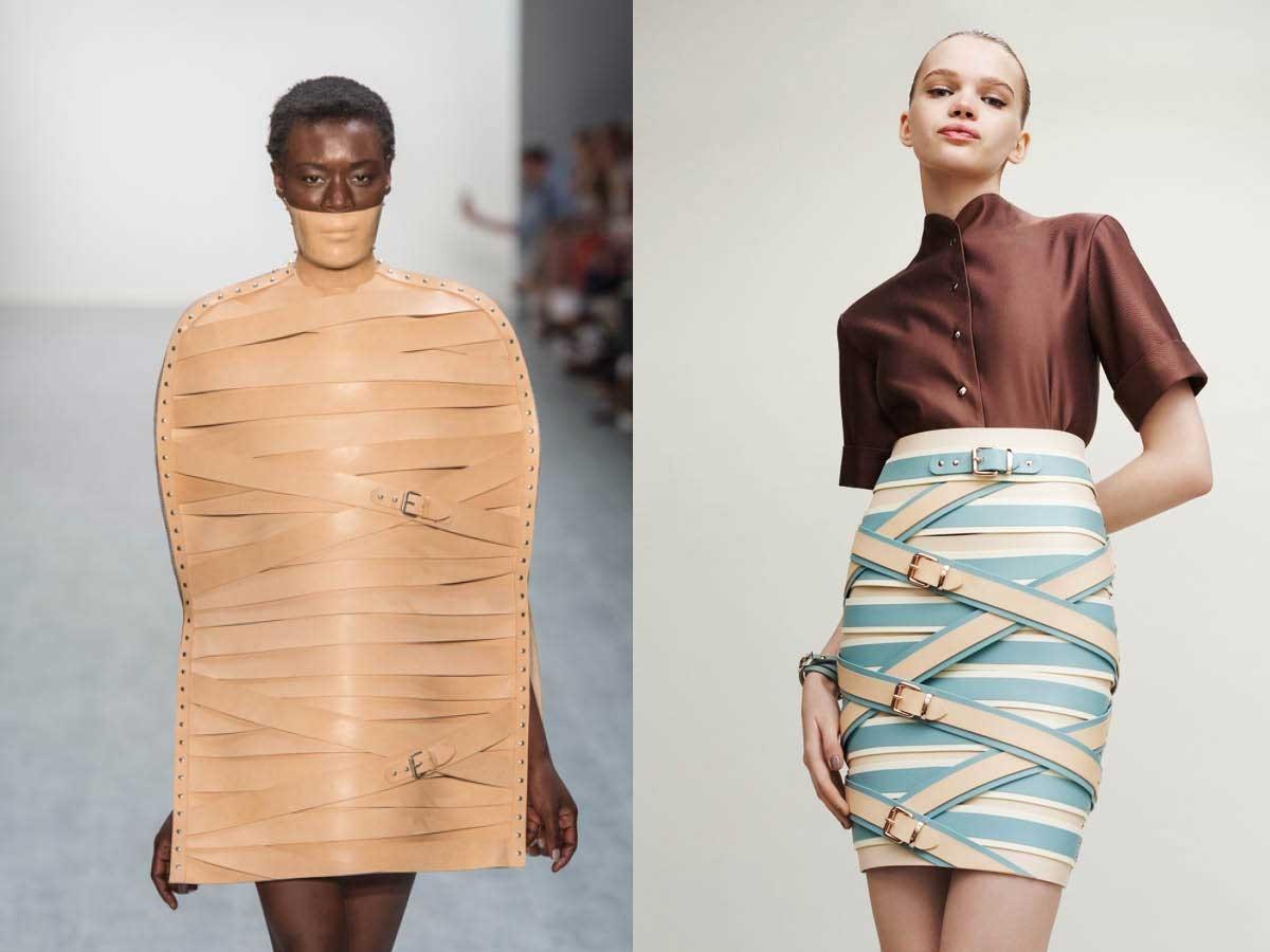 Marina Hoermanseder Runway Belt Beige Blue Fashion Skirt Dress Top