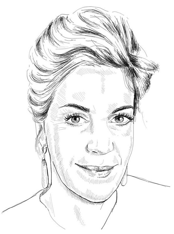 Barbara Vinken Portrait Gezeichnet Schwarz Weiß Frau Haare hochgesteckt