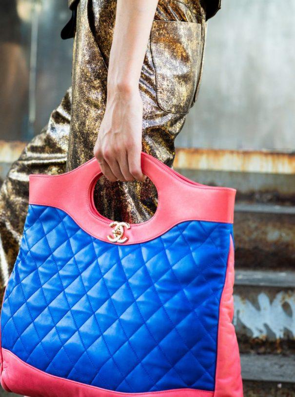 Chanel gold pants bag pink blue
