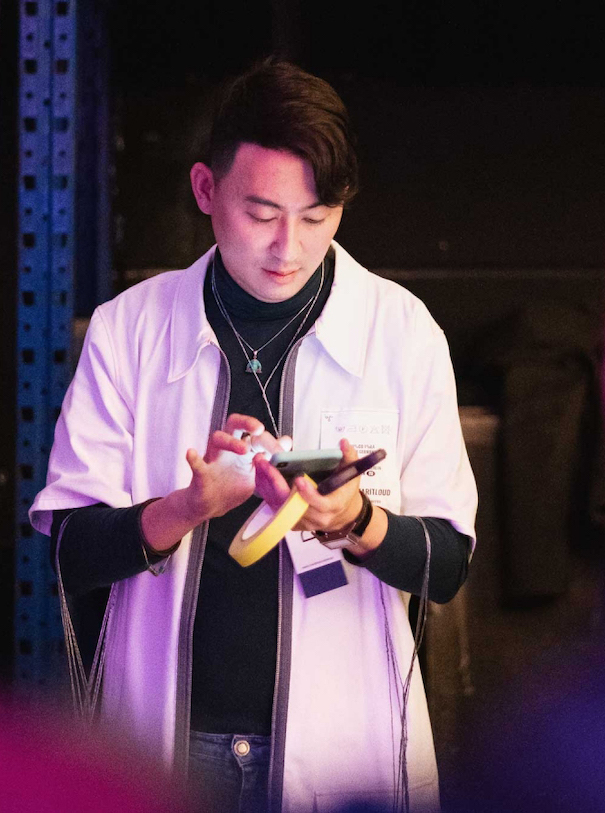 Damur Huang Designer White Coat Technology Fashion