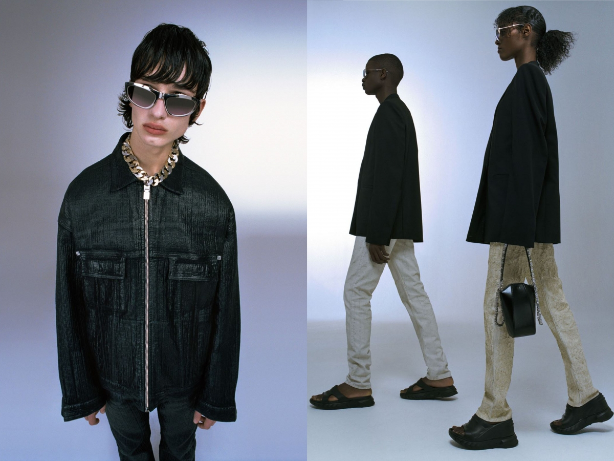 Givenchy Black jacket sunglasses beige pants black shoes