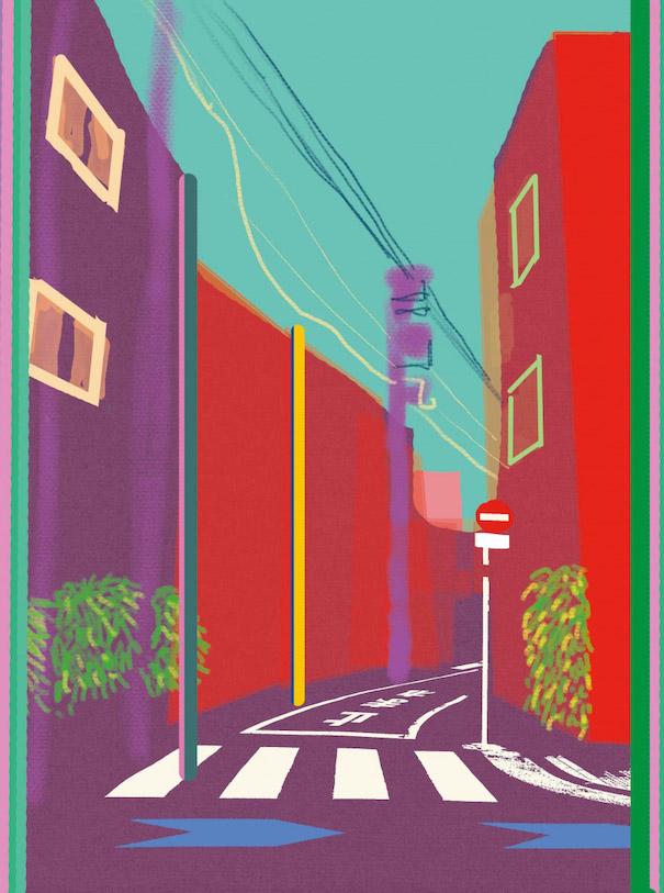 Hiroshi Tanabe Art Work Street Red Purple Cyan