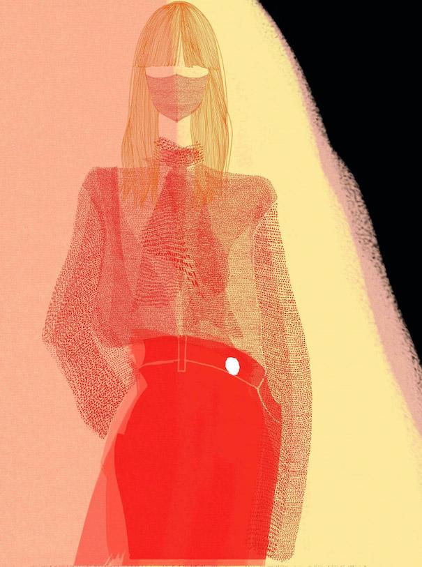 Hiroshi Tanabe Art Work Woman Red Skirt long Hair Yellow Background