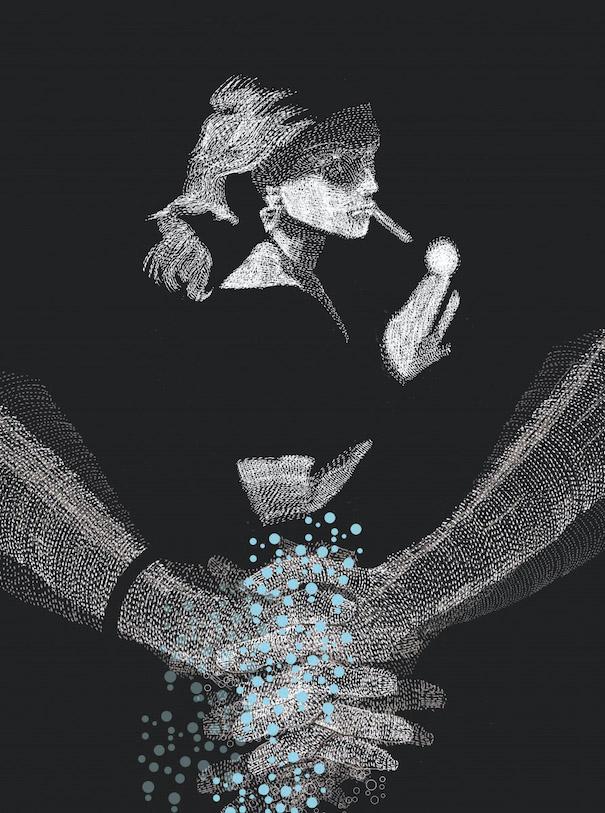 Hiroshi Tanabe Art Work Cigarette Hands Black White Woman