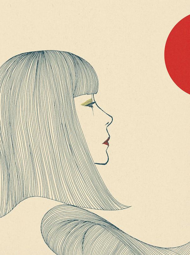 Hiroshi Tanabe Art Wor Girl Portrait Profile Red Lips Half Circle Long Hair
