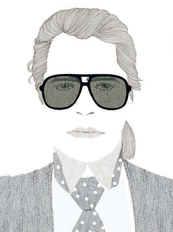 Hiroshi Tanabe Karl Lagerfeld Illustration Art Work Black White Sunglasses