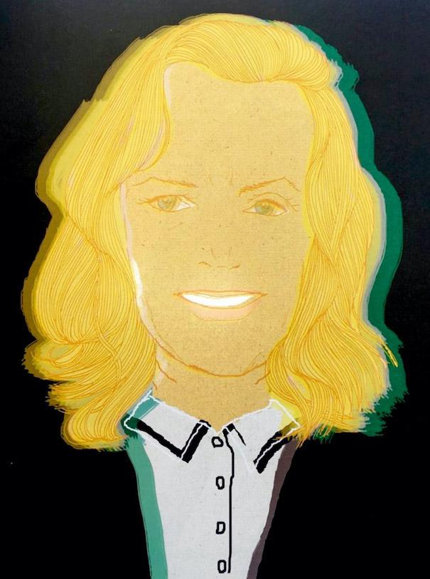 Hiroshi Tanabe Illustration Art Work Blond Hair Black Background