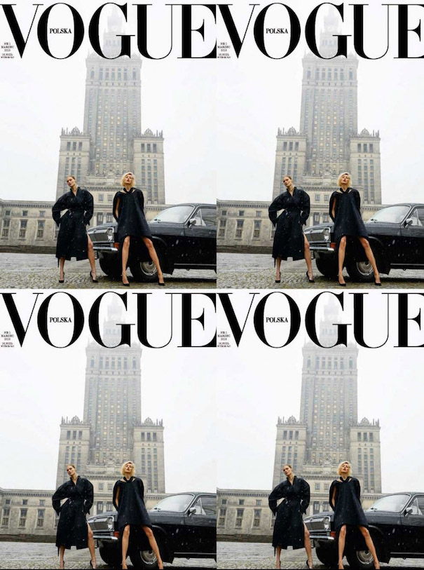 Vogue Cover Poland two Models Black Dress White Background Tall Building