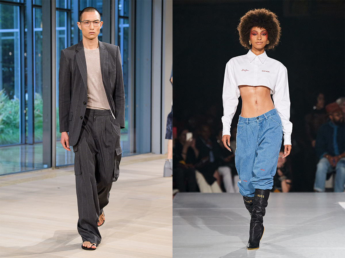 Spring/Summer 2020 collections from Tibi (left) and Pyer Moss (right) striped suit oversized white cropped blouse low waist denim black boots