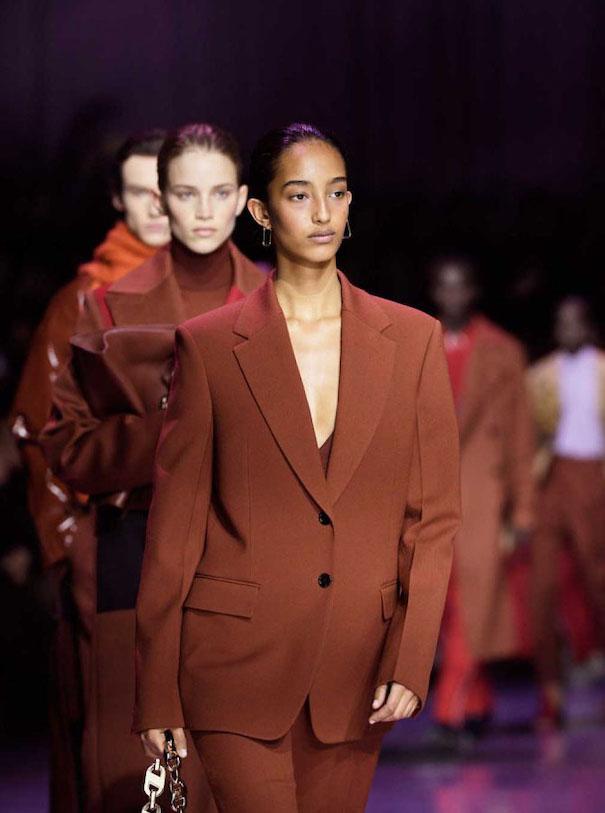 Milan Women Fashion Week SS 20 Hugo Boss orange suit
