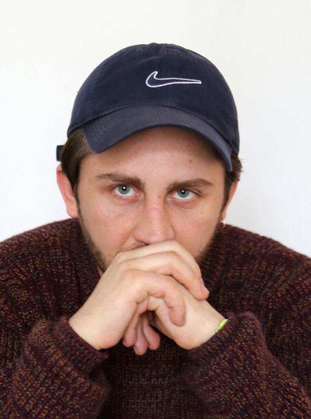Anton Belinskiy Nike cap blue brown sweater