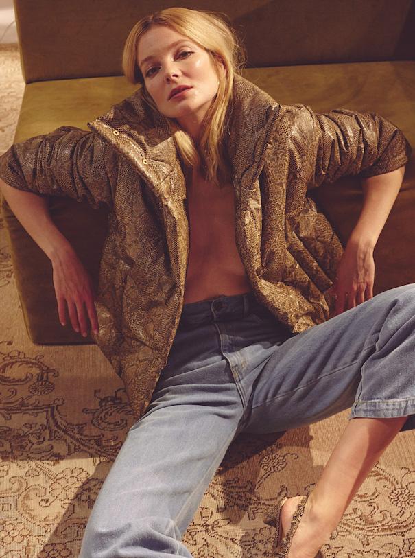 Nanushka Editorial Puffer Jacket beige denim blonde Model