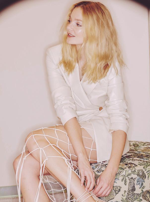 Nanushka blonde model white dress