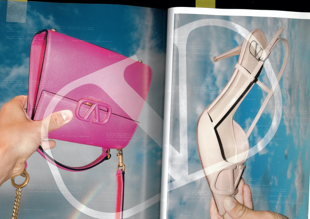 valentino v signature pink bag beige high heel sky blue