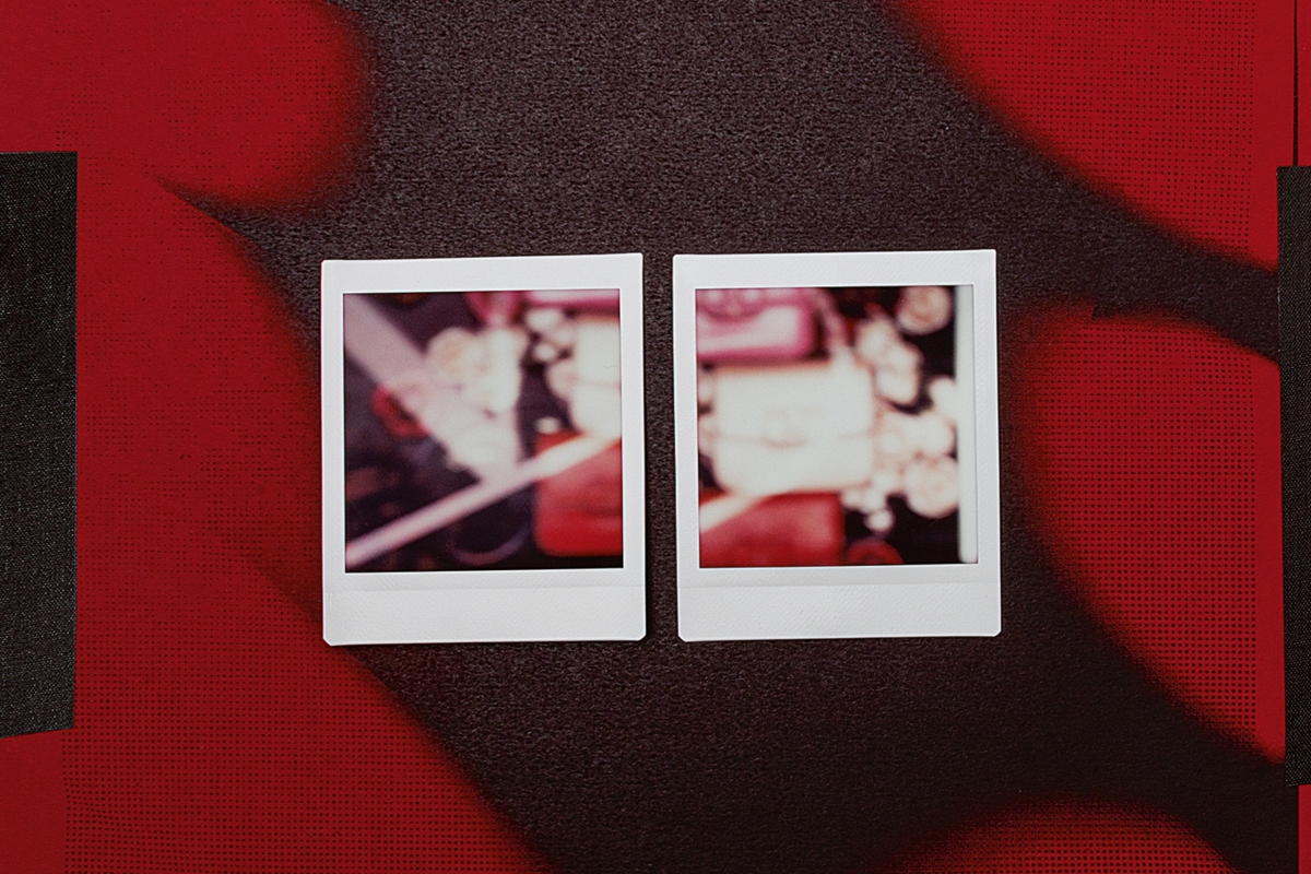 valentino v signature polaroids black red white