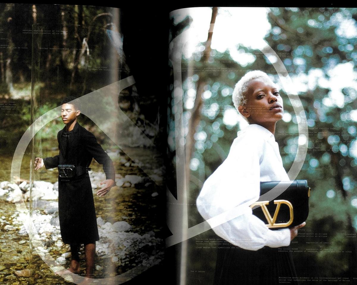 valentino v signature black dress white blouse black bag woods forest