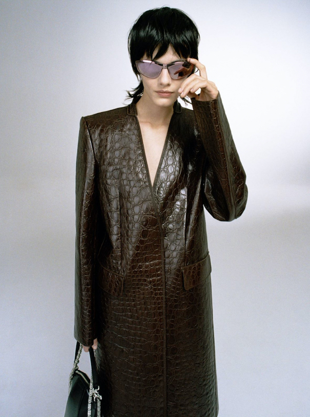 Givenchy Brown coat sunglasses editorial