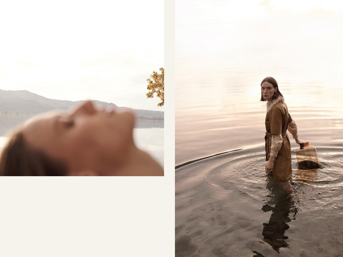 Zuhause in der Natur Erholund Frau im Wasser