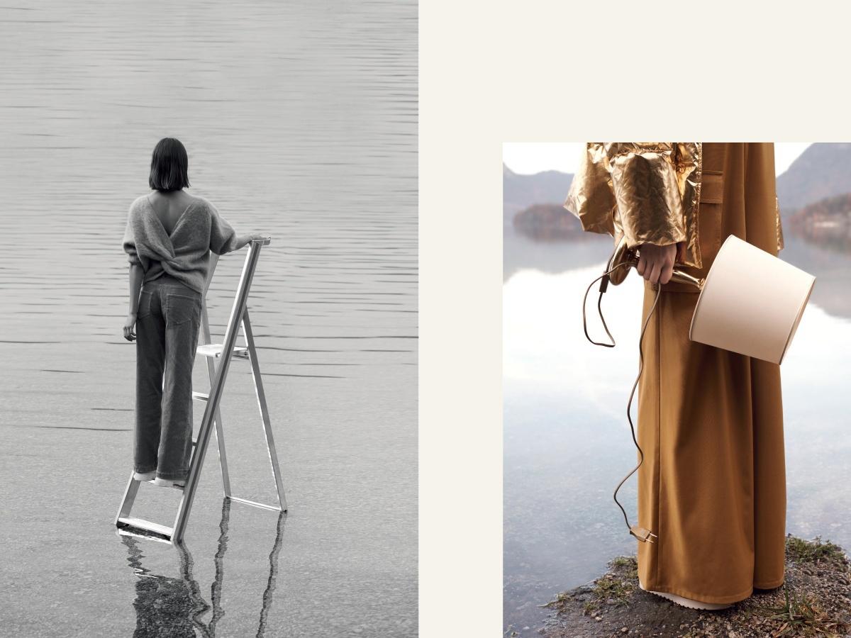 Frau im Wasser mit Leiter