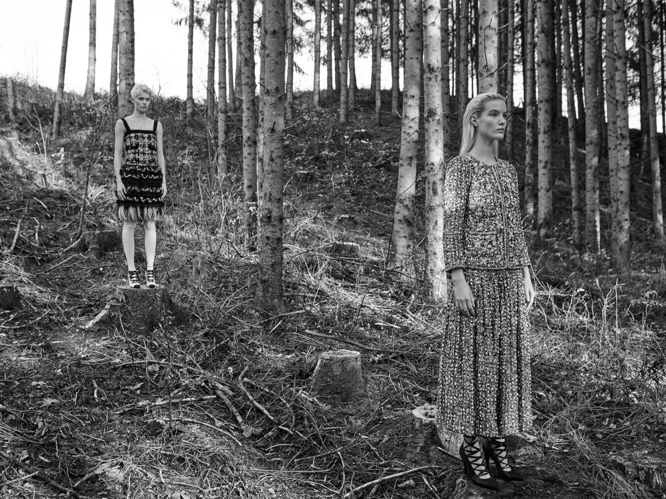 Zwischen Bäumen Chanel Haute Couture Schneewittchen im Schwarzwald