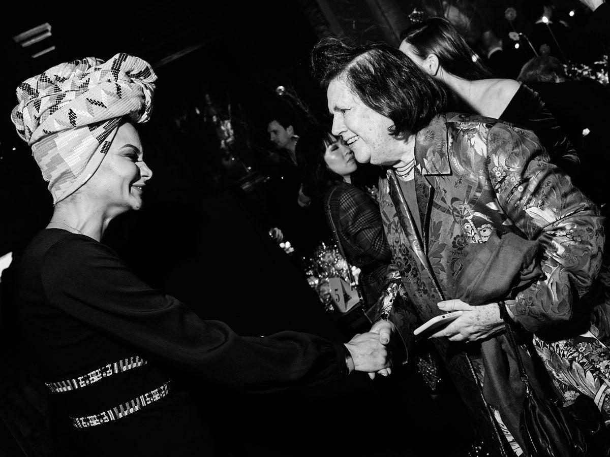 Designer Stella Jean and Suzy Menkes yoox vogue photo black white