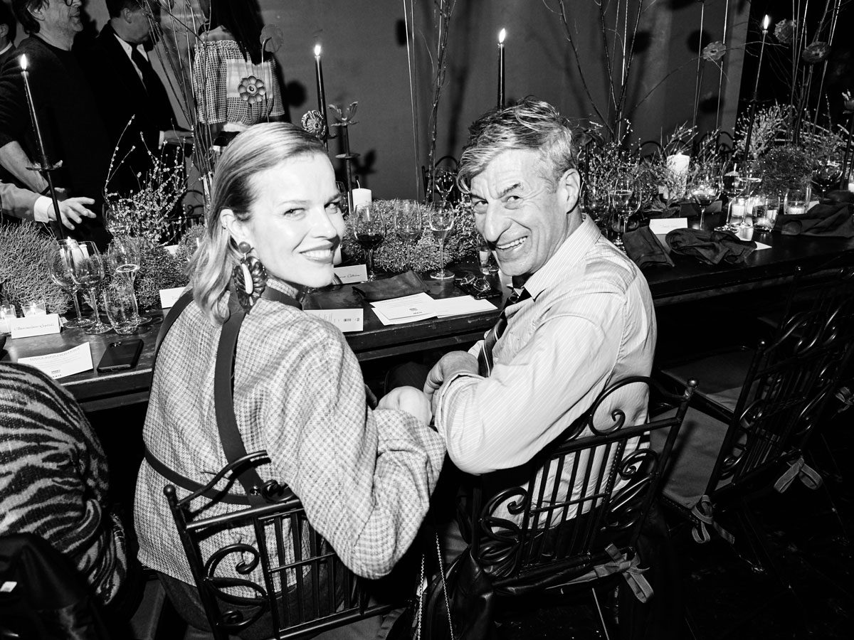 Yoox Vogue photo Eva Herzigová and Maurizio Cattelan black white