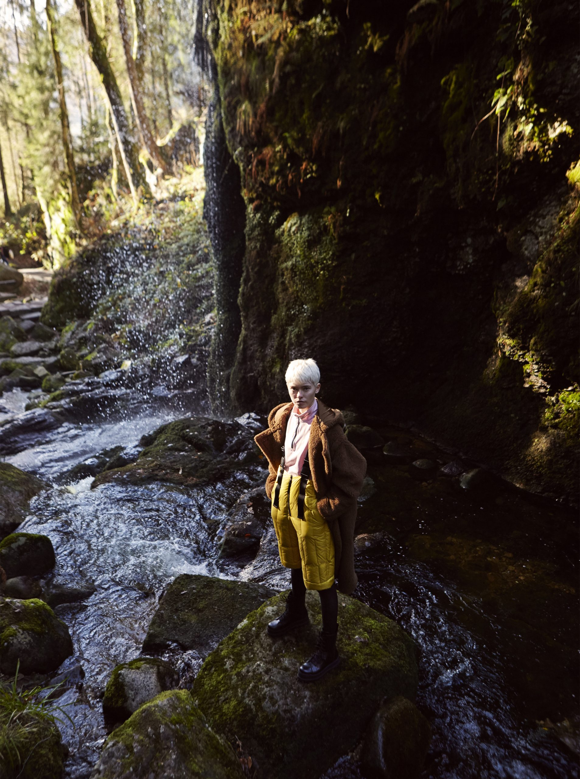 of fog and falls Maike in Max Mara waterfall black forest