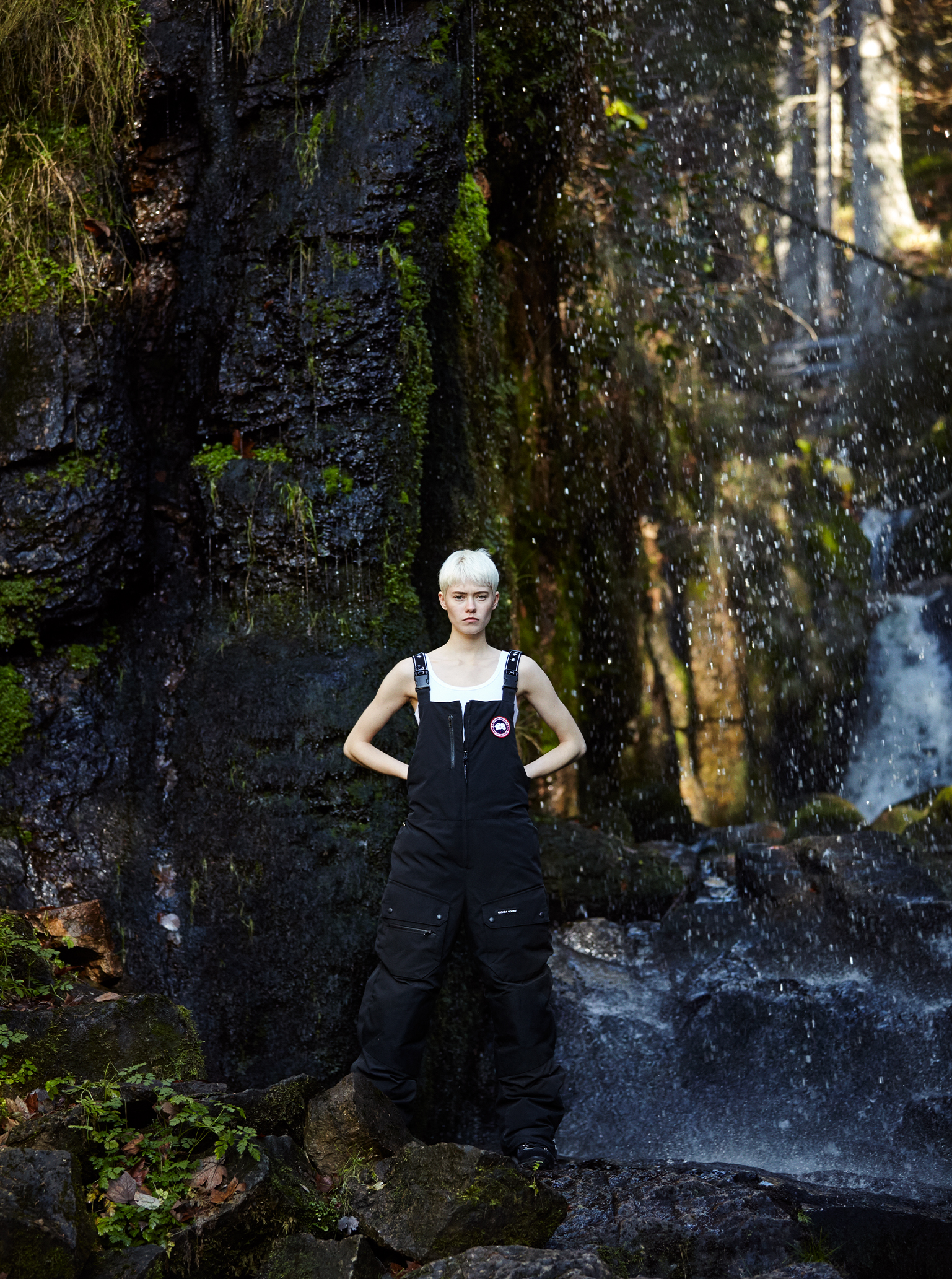 of fog and falls Maike in Canada Goose Overall Schwarzwald Wasserfall