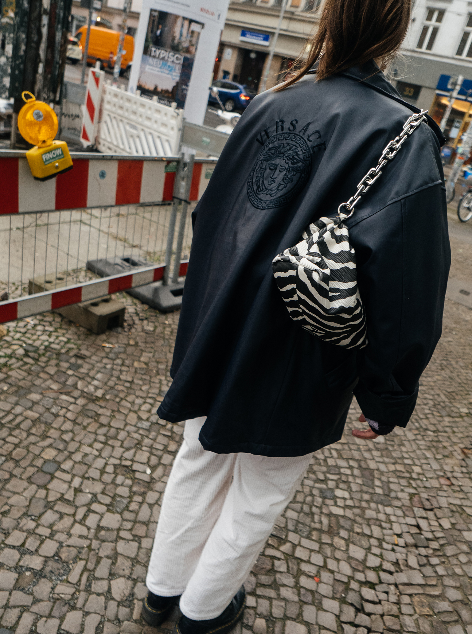 White pants white trousers trend Berlin Versace jacket