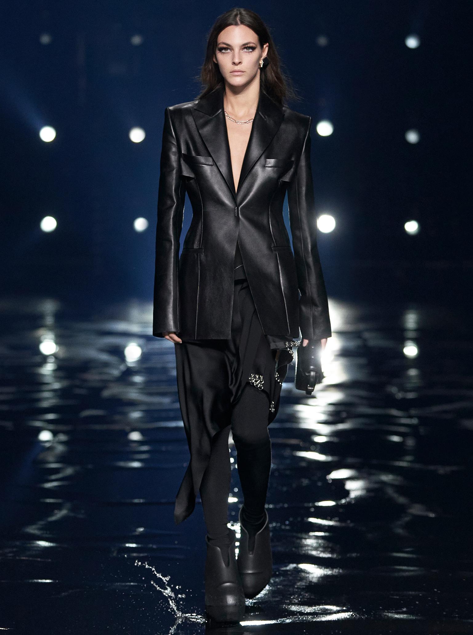 Givenchy Paris Fashion Week 2021 Women black leather tailoring
